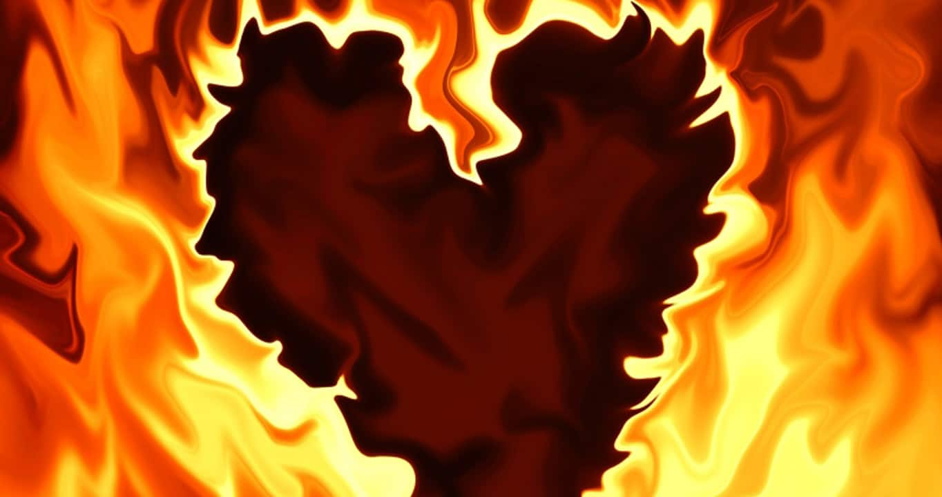 flames in the shape of a heart, heartburn relief from to your health nutrition
