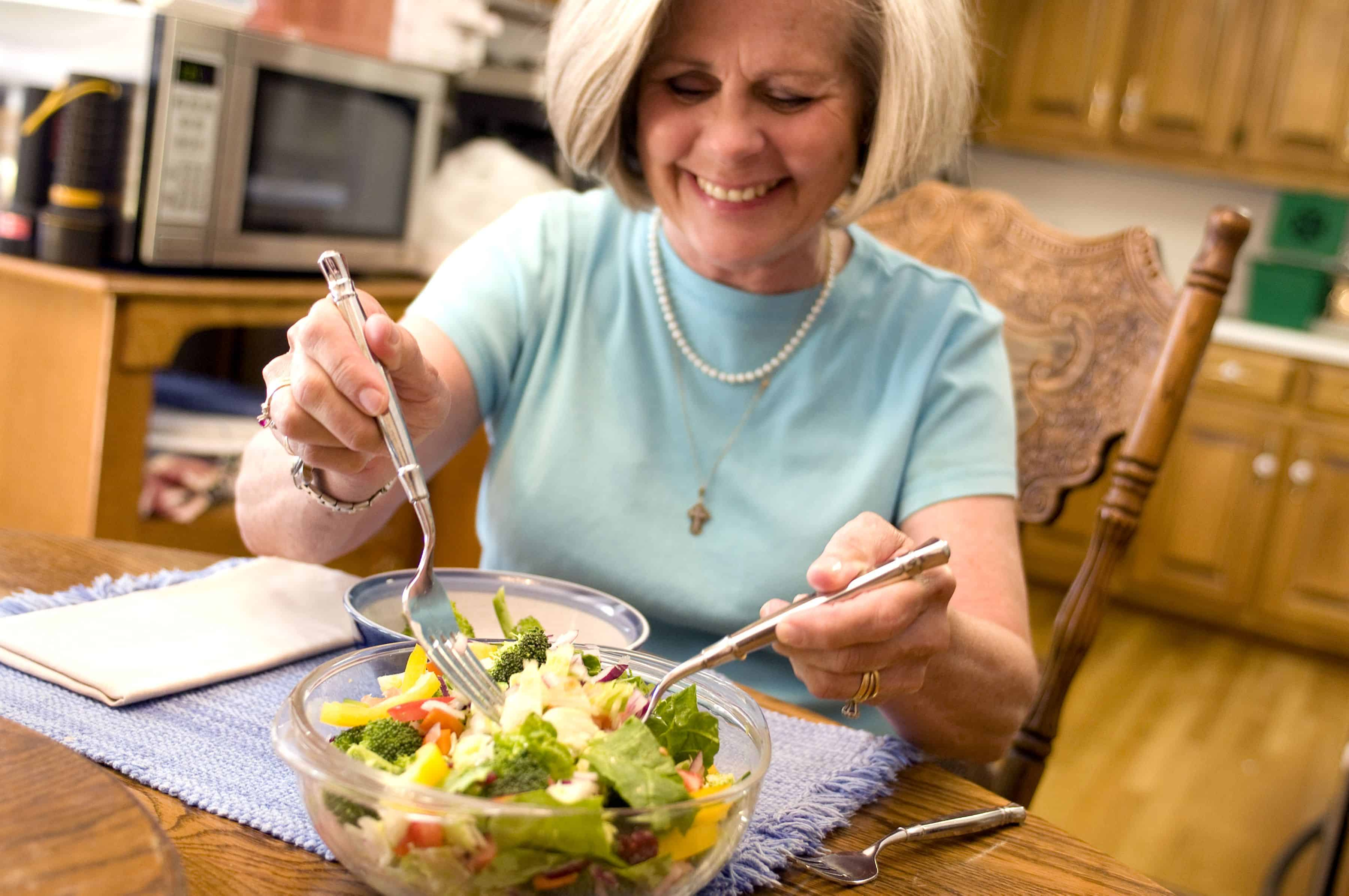 elderly woman experiencing menopause relief through diet to your health nutrition