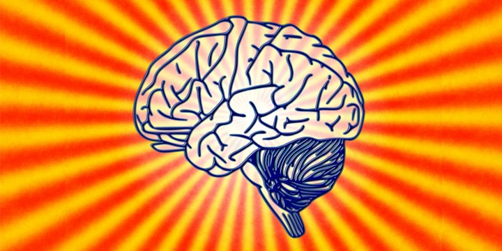 graphic of blue outlined brain against yellow and red striped background